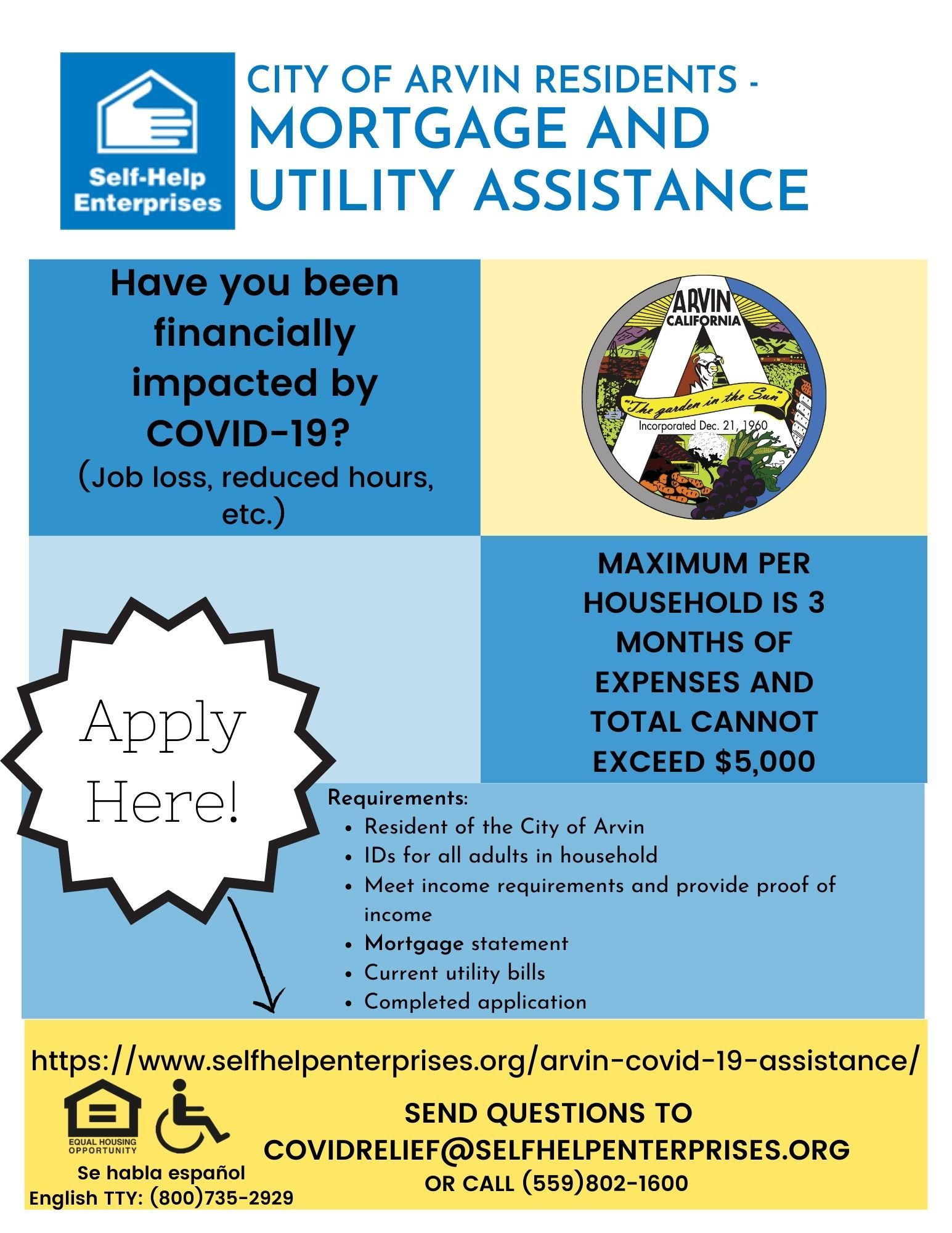 Arvin Flyer Mortgage and Utility Assistance